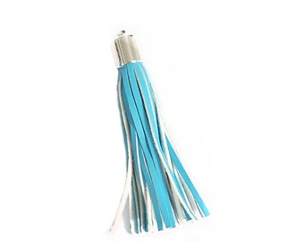 Long Blue Tassels - 6 Long Tassels - 93 mm, Silver Cap, Decorative Tassels - Purse Tassel - Key Chain Tassel - Tassels for Purses - TL-2S08