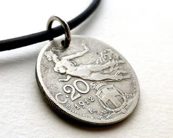Italian necklace, Coin necklace, Coin jewelry, Coins, Antique necklace, Leather necklace, Italian, Antique jewelry, Antique coins, 1912
