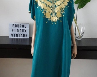 Djellaba Caftan Kaftan gandoura vert broderies or taille 38/40 - maxi dress uk 10/12 - us 6/8