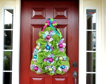Ready to ship Whimsical Christmas Tree Wreath, Deco Mesh Christmas Wreath, Tree Door Hanger, Christmas Front Door Wreaths