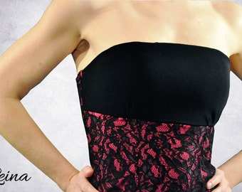 Corset black and fuchsia with lace for tango dancing