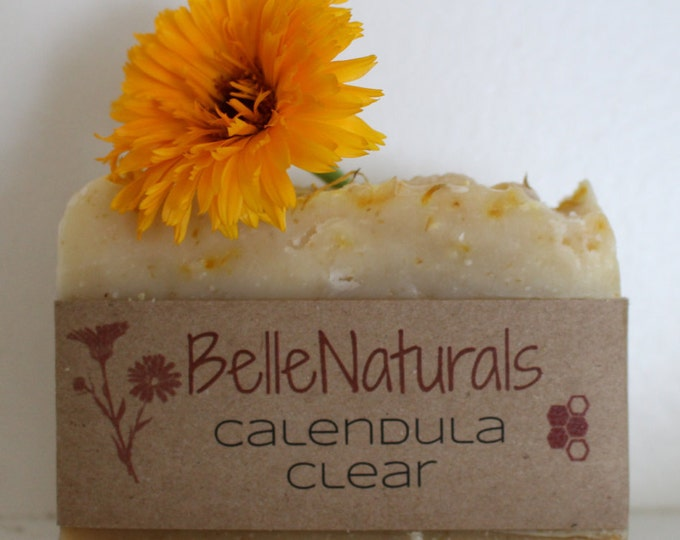 Featured listing image: Calendula Clear - Gentle Moisturizing Bar Soap for All Skin Types, Garden soap, Infused Oils, Wildcrafted Herbs, Baby Soap