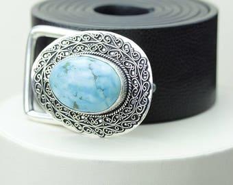 AAA Grade Tibetan Turquoise Vintage Filigree Antique 925 Fine S0LID Sterling Silver + Copper BELT Buckle T131