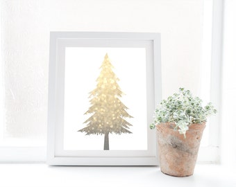 8x10 16x20 large christmas tree print gold glitter christmas decorations white and gold - Large Christmas Tree