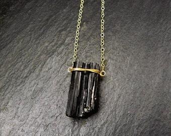 14 K Gold filled chain with black tourmaline, tourmaline pendant fine gold necklace, gemstone necklace black, raw, tourmaline Crystal