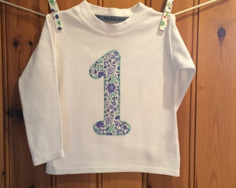 Baby girl 1st birthday outfit *1st birthday tshirt *girls birthday t shirt *personalised long-sleeved top* liberty t shirt*Yew Tree Stitches