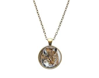 Forest Animal jewelry Wild Cat pendant Bobcat necklace