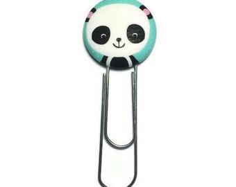 Panda bookmark, fabric button bookmark, planner bookmark, planner accessories, paper clip bookmark, book lover gift, panda lover gift