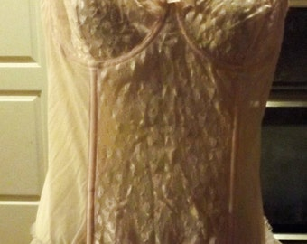 SALE 90's Sheer Lace Pale Pink Teddie Bodysuit Garters 44 Plus Size