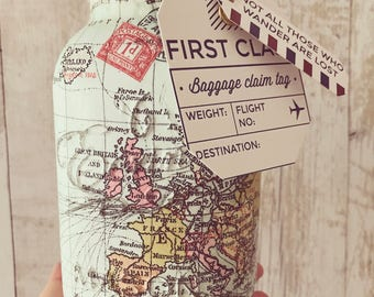 Hand made world map/travel mason jar. Home/interior - Light Jar - Holiday fund - Travel Mad - Adventure, Gifts for her