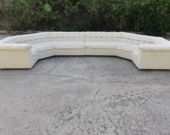 Signed Rare And Iconic, All Original Mid-Century Modern Edward Wormley Two Piece Sectional Chesterfield Party Sofa For Dunbar 1960's.