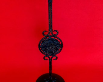 "17"" TALL BLACK CANDLESTICK / Pillar Candle Holder Aged Wrought Iron Vintage"