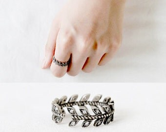 Vintage Silver Leave Ring 925 Silver Diamond Oliver Branch Ring Open Ring Knuckle Stack Multifinger Birthday Wedding Christmas Gift