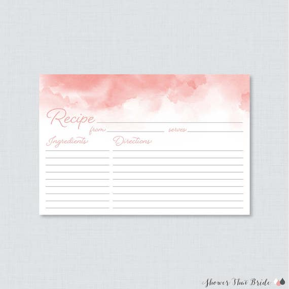 Pink Watercolor Bridal Shower Recipe Cards