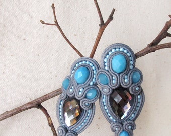 Gray blue earrings Soutache earrings Gray jewelry Everyday earrings Blue dangle earrings Glamour jewelry Present for her Gift for girlfriend
