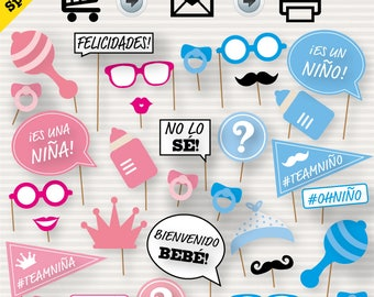 SPANISH Gender Reveal Baby Shower Photo Booth Props - Baby Shower Printable Props -  Revelacion Baby Shower - Español - Niño o Niña? - diy