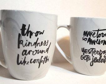 marbled mugs, inspirational cups, uplifting mugs, unique coffee cups, coffee mug, coffee lover gift, office mug, good vibes, coffee cup