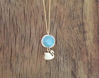 Aqua Green Drop Swan Necklace, Matte Gold plated