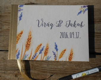 Wedding Guest Book, Rustic wedding guestbook, wedding memory book, Vintage wedding album, Vintage book, Rustic book, lavender, weddingbook