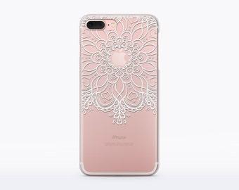 Rubber Case Mandala Flower Case iphone 7 Plus Case iPhone 7 Case 6 iPhone Case 6 Plus iPhone Spring Case Floral iPhone Case Clear Case CMC80