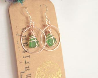 SAMARITANA ONE 4 ONE // Rose Gold Green Scottish Sea Glass hoop earrings / jewellery Scotland Manila Philippines / Róis Scotland / Scottish