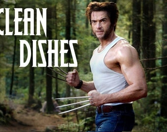 "Wolverine/Logan Reversible Magnetic Dishwasher Sign | Geek Kitchen | Clean Dirty Dishwasher Magnet | ""Clean"" ""Dirty"" Marvel's X-Men"
