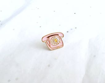 Vintage Telephone Enamel Pin | Telephone Brooch | Telephone Lapel Pin