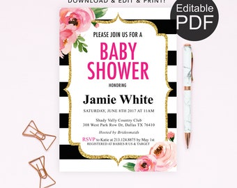 Kate Baby Shower Invitation Template, Spade Baby Shower Invite, Editable PDF Invitation, Black and White Striped Baby Shower Printable, DIY