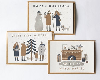 SALE (%) set of 3 winter postcards // christmas postcards. new year postcards. greeting cards