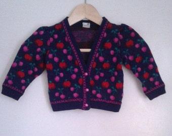 Vintage 1970's Baby Girls' Navy Purple Apple Cherry Knit Cardigan Sweater Puffy Sleeves Sz 18 Mo