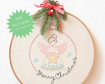 PDF Embroider Pattern - Merry Christmas