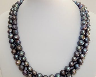 RESERVED FOR ESTHER Steely grey freshwater pearl necklace