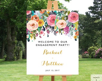 Engagement Party Decorations, Engagement Party Banner, Printable Sign, Ideas, Floral, Elegant, Download, Custom, Personalized, Welcome Sign