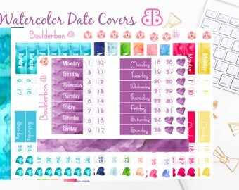 Watercolor Date Covers | Planner Stickers