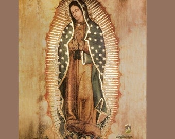 New! 19.5 x 27 inches REPLICA OF ORIGINAL Our Lady of Guadalupe Virgin Mary with golden Accents