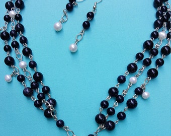 """Blue Goldstone & Pearl """"Night Sky"""" Necklace and Earring Set"""