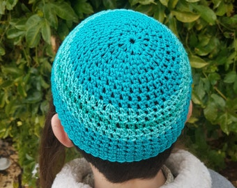 Turquoise Kippah 100% Cotton made in Israel
