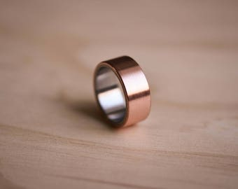 2-Tone Brushed Copper Ring with a Stainless Steel Liner