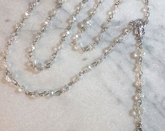Rosary with Clear Swarovski Crystals
