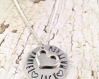 Mothers Necklace, Personalized Heart Necklace, Name necklace, custom necklace, Family necklace, Mom of Boys, Mom of Girls, push present