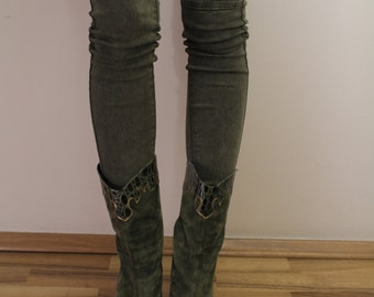 Vintage Women's Green Suede Cowboy Boots  Eur37 Uk4 USA6 1/2