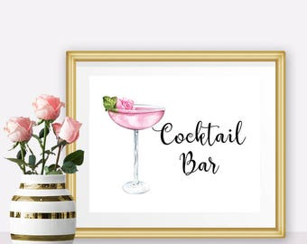 PRINTABLE wedding signs, Cocktail bar sign, Bridal shower sign, bridal shower decorations,  Bachelorette party decorations, Wedding bar sign