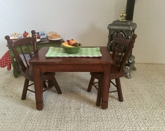 Mahogany Table, Two Chairs and Fruit Centerpiece for 1:12 Scale Dollhouse (additional chairs available)