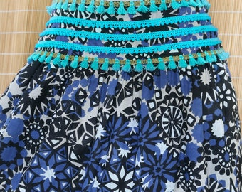 Sale 40% Off, Bohemian Printed Cotton Tiered Broomstick Skirt with an Elastic Waist in Blue