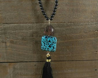 Tassel Necklace - Long Necklace - Turquise Necklace - Black Necklace - Gift for Her - Tassel Pendant