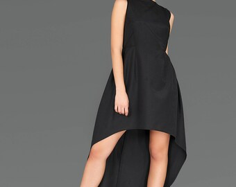 Prom Dress, High Low Dress, Avant Garde Clothing, Gothic Dress, Black Party Dress, Long Black Dress, Minimalist Dress