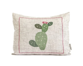 Cactus Pillow, Cactus Plant, Rustic Cactus Cushion, Gift For Her, Gifts For Mom, Spring Decor, Nature Lover