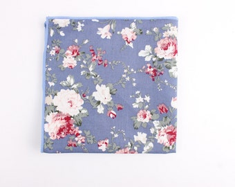 Pastel Blue Floral pocket square | Flower | Groom | Men | Wedding | Handkerchief | Fall | Ideas | gifts |  for him