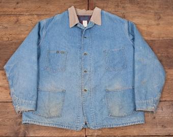 "Mens Vintage OshKosh Workwear Blanket Lined Denim Jacket Blue Size XXL 52"" R4378"