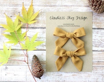 mustard pigtail bows, pigtail set, yellow bows, hair bows, toddler hair bows, girls hair bows, stocking stuffer, gift for girls
